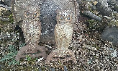 Owl Fireplace Andirons Vintage Set  2 Cast Iron  w/Glass Eyes Antique Andirons