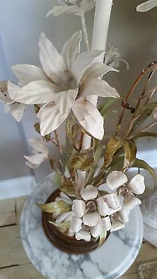 Vintage Italian Tole Floral Metal Tall Table Lamp White Lilies Chippy Shabby