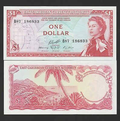 Eastern Caribbean States,1 Dollar Banknote,(1965) Uncirculated Condition #13-G