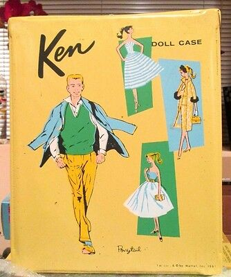 """1961 VTG~Barbie """"KEN"""" DOLL CASE~ORIGINAL PONYTAIL~2 ACCESSORY DRAWERS~ALL INTACT"""