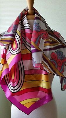 2 Vtg Mod Pop Art Groovy Colorful Psychedelic 60s Funky GoGo Square Scarves Bold