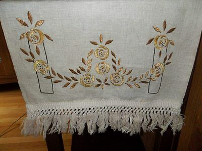 Antique Arts & Crafts Embroidered Linen Table Runner