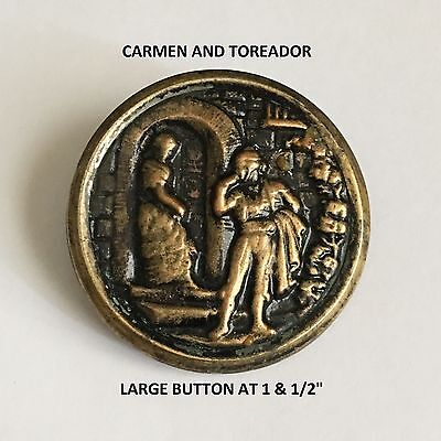 "Handsome Large Antique Picture Button ""carmen And Toreador"" In Stamped Brass"