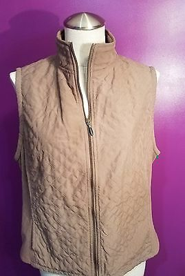 Womens Columbia Fleece Vest size Large L Brown Diamond Quilted Zip up Lined