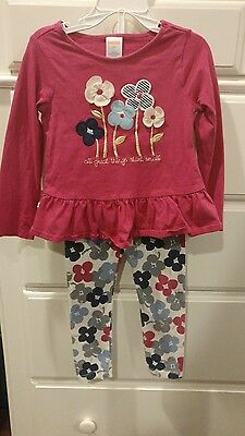 Gymboree toddler girl's 3t top leggings pink floral blue white outfit