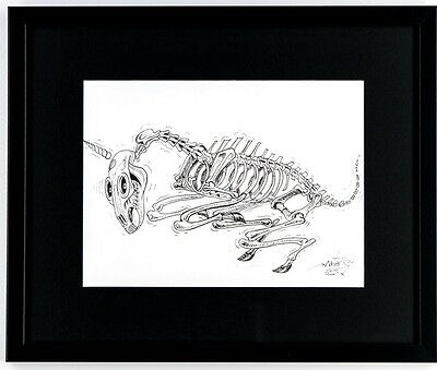 NYCHOS Original Skeleton of a Unicorn Ink Drawing Faile Kaws Obey Banksy