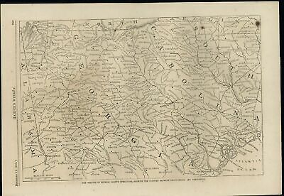 Theater of Operations General Grant Georgia 1863 antique wood engraved print