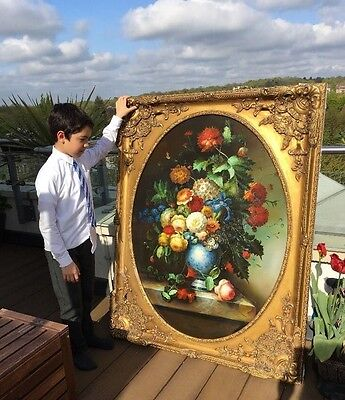 Massive Very Large Original Oil Painting Still Life French