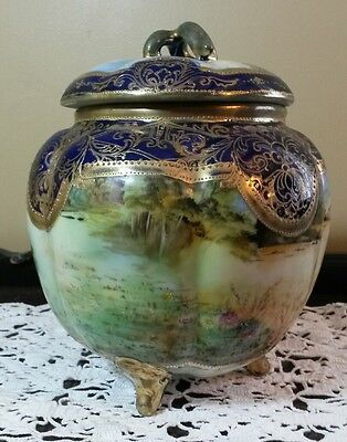 Antique Hand Painted Asian Ginger Jar Gold Gilded