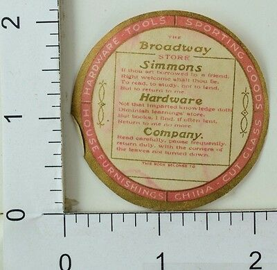 Victorian Advertising Label Sticker Broadway Simmons Hardware Store F30