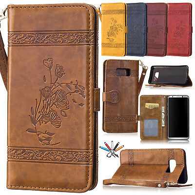 Leather Magnetic Card Slots Wallet Case Flip Stand Cover For Samsung S7 S8 Plus
