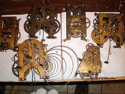 Lot of 6-Vintage-8 Day Clock Movements-Parts/Restore-#N647