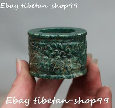 Chinese Old Jade Handwork Carving Ancient Flower Man Fingerstall Ring Statue