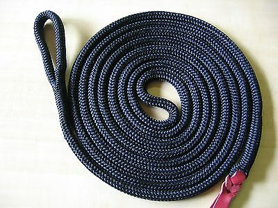"14' x 1/2"" BLACK DB Polyester Yacht Horse Lead Rope, Lunge w Spliced Loop, Tail"