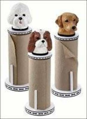 Paper Towel Holder with a Bichon Frise On Top
