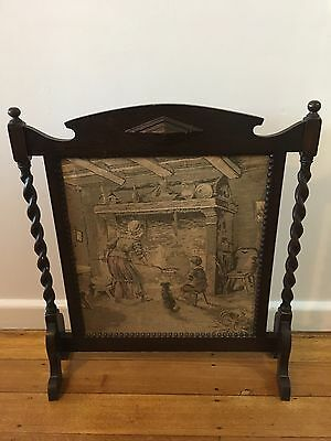 Vintage /deco Printed  Tapestry  Fire Place  Screen  Antique