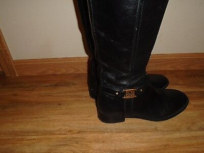 Tory Burch Riding Boots Black Leather Size 8M Tall