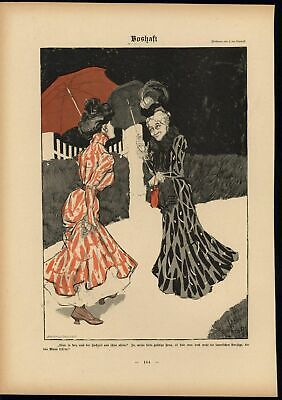 Elderly Women Stroll Lovely Chat Parasol Delicate 1900 antique Art Nouveau print