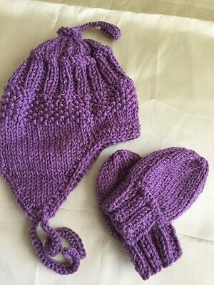 HAND KNITTED BABY BEANIE AND  Mittens - MADE IN AUSTRALIA