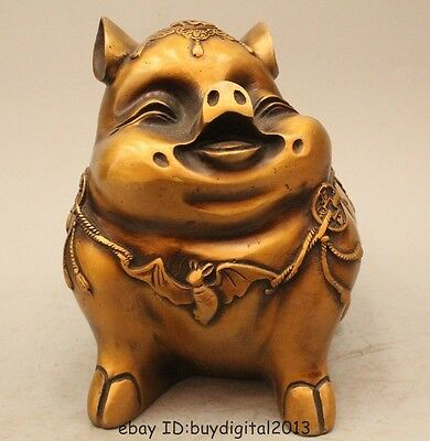 "8"" Chinese Fengshui Bronze Fu Wealth Zodiac Year Pig Chiropter Statue Sculpture"