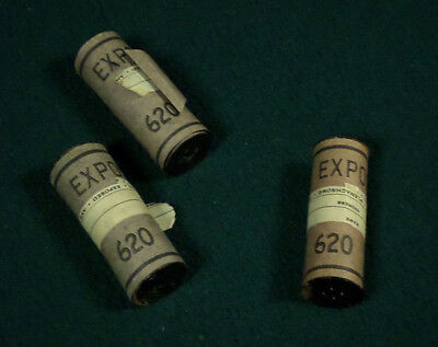 3 ROLLS EXPOSED 620 FILM Plenachrome Ansco Box Camera vintage mystery surprise