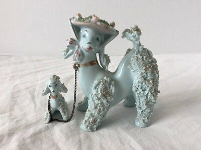Vintage Japan BLUE Mama & Chained Puppy Poodle ~ Blue Eyes & Spaghetti ~ Nice!