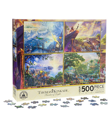 Disney Parks Four in One Puzzle by Kinkade Peter Pan Lion King Pinocchio Jungle