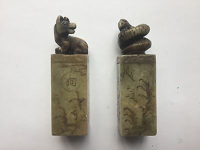 Very Nice Pair Vintage Asian Chop Seal Stamps