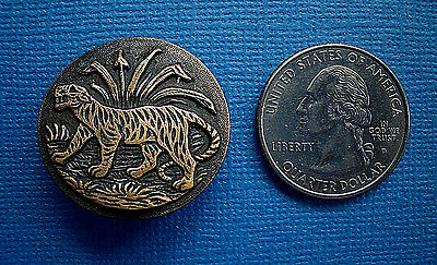Antique One Piece  Stamped Metal Detailed Tiger Button 1 1/16""