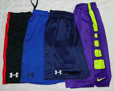 UNDER ARMOUR NIKE ELITE Lot of 4 SHORTS Boys Youth Large ATHLETIC Basketball