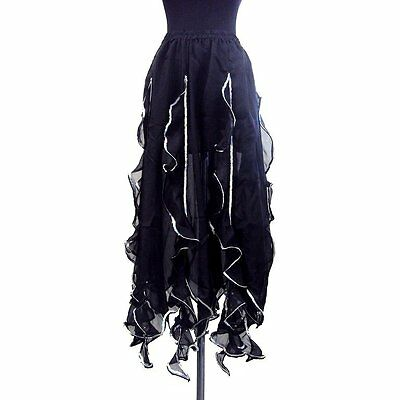 Women Belly Dance Tango Salsa Long Chiffon Sequin Edge Ruffle Skirt -Black