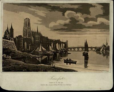 Frankfort Sailboats Cathedral water city view 1807 scarce antique Germany print