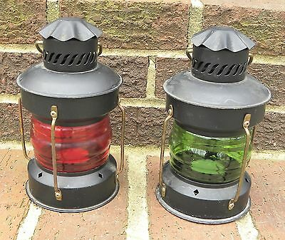 Vintage Pair of Red & Green Nautical Maritime Ships Candle Lantern Lights