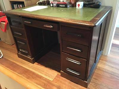 Early 1900's Antique Oak Desk with leather top