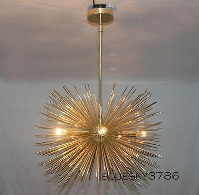 Mid-Century Modern Large Round Urchin Chandelier Polished Brass Starburst Light