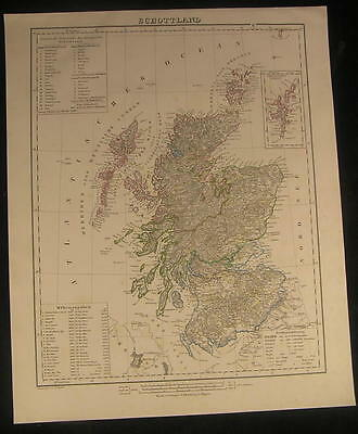 Scotland Hebrides Firth of Forth Orkney c.1850 antique lithograph color map