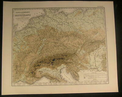 River & Mountains Central Europe Germany Rhine 1855 antique engraved science map