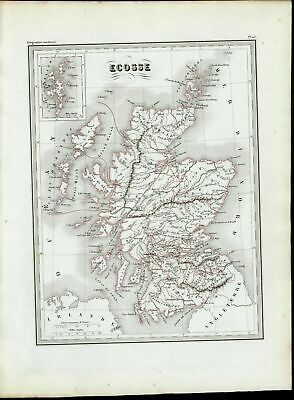 Scotland Shetland Islands Inset Regions nice 1846 uncommon antique color map