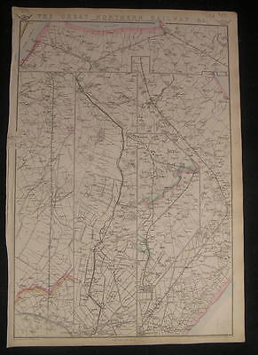 England Great Northern Railway Loop or Lincolnshire Line c.1863 old vintage map