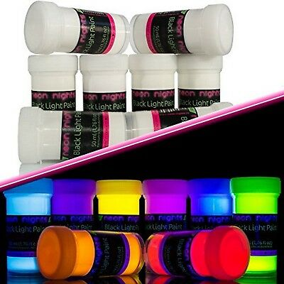 Invisible Ultraviolet Party Paint UV Fluorescent Set Of 8 Color Neon Nights New