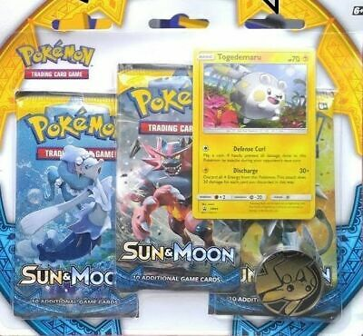 NEW! Pokemon TCG Sun and Moon Three-Booster Blister. Togedemaru.