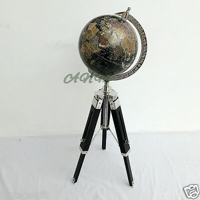 Antique Vintage World Globe With Wooden Tripod Stand Nautical Home Decorative