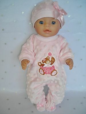 "Dolls clothes for 17"" Baby Born doll~ PINK BALLERINA TEDDY BEAR BOBBLE JUMPSUIT"