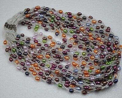 wholesale 5 sets bright colors rice freshwater cultured pearl sets