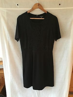 Beautiful Warehouse Black Dress With Front Lace Design. Size 12.