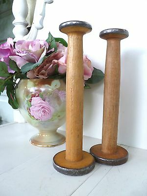 PAIR~Antique~Vintage~Industrial~Wooden~French~Country~Cotton~Reels~Bobbin~Spools