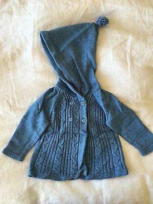 Purebaby Blue hooded jumper Size 6-12 months