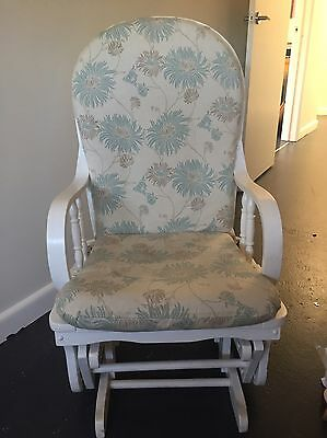 Wooden White Rocking Chair / Baby Feeding Nursery Chair - Laura Ashley Fabric
