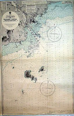 Admiralty chart 1544 Approaches to Panama Canal 1949