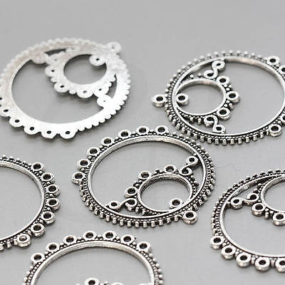 10 Pieces Oxidized Silver Tone Base Metal 1 to 7 Component Findings 2618X-V-48